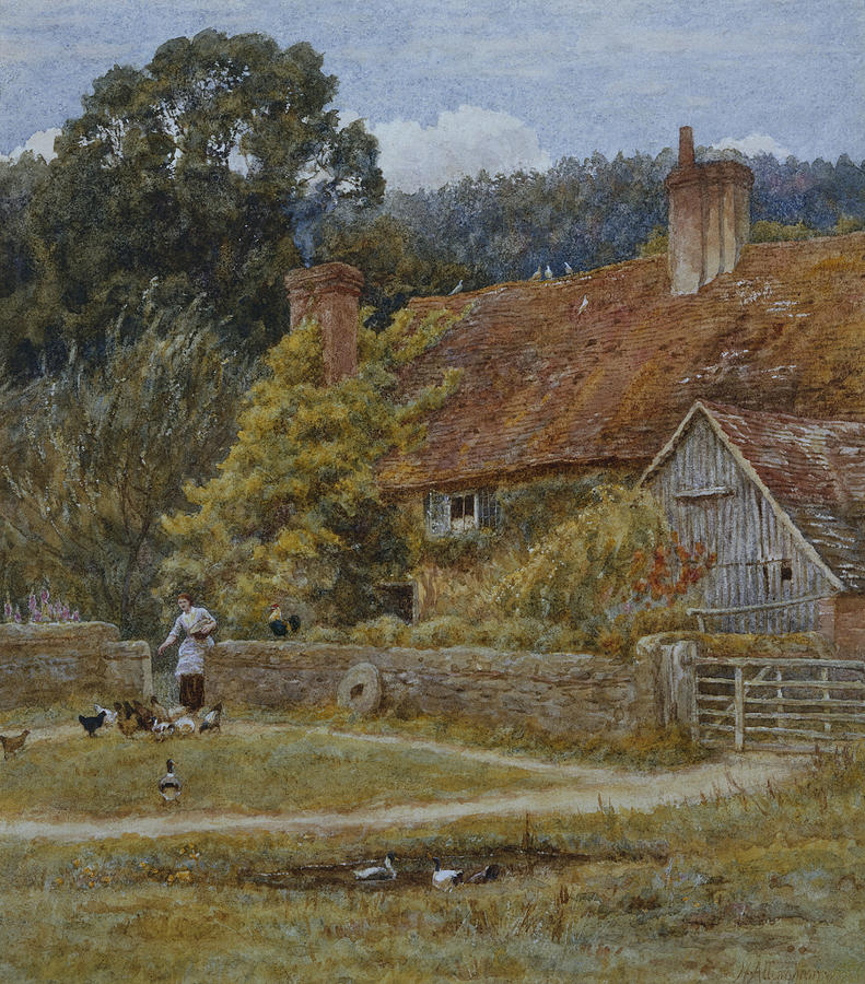 Netley Farm Shere Surrey Painting By Helen Allingham