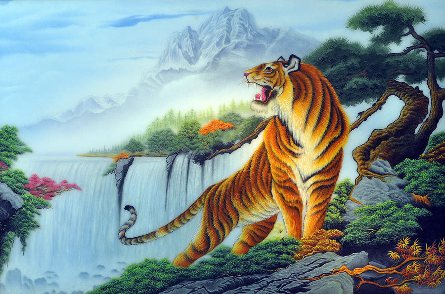 Pine Trees And Tiger Painting By Created By Handicap Artists