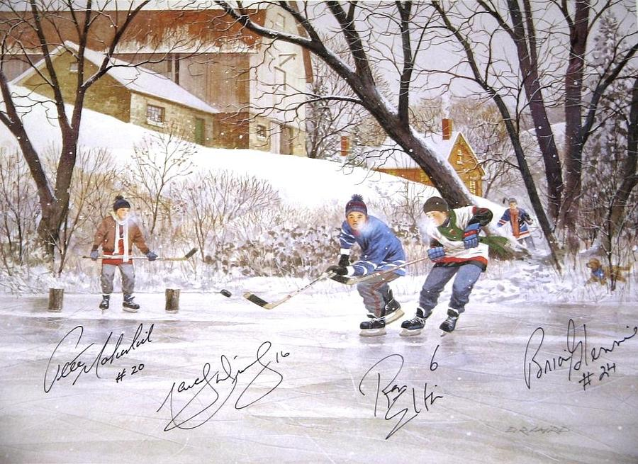 Pond Hockey Painting By D R Laird