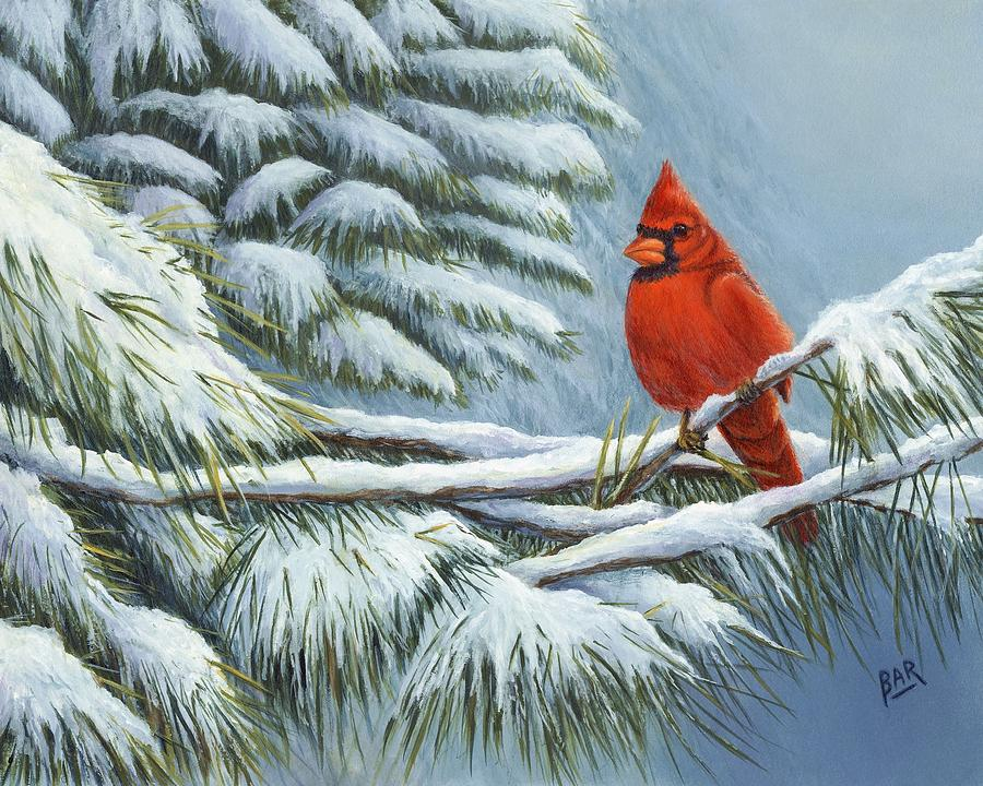 Red Cardinal In Winter Painting By Barbara Ann Robertson