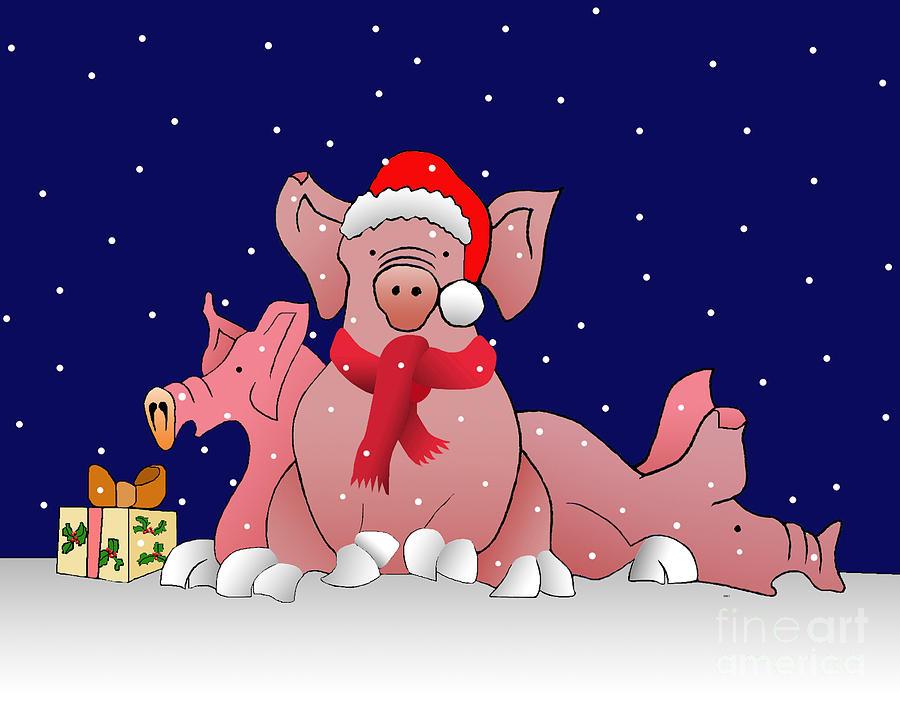 Snowy Christmas Pigs By Melech Yitzchak