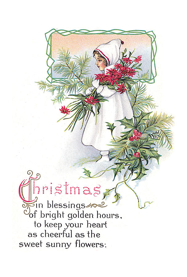 Vintage Christmas Blessings Painting By Unknown