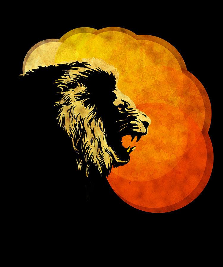 Lion Illustration Print Silhouette Print Night Predator