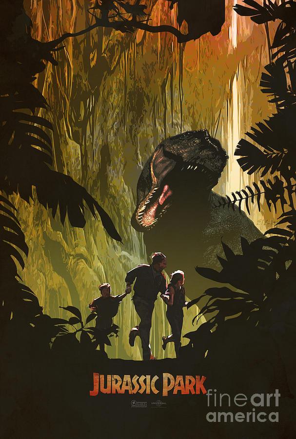 jurassic park movie poster by ed burczyk