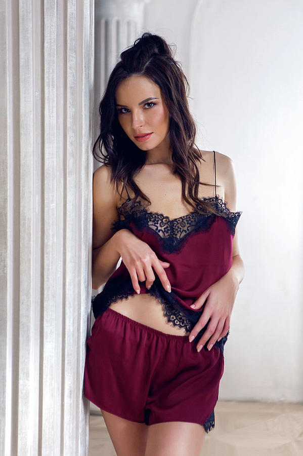 Lingerie Photograph Sexy Brunette Girl In Lingerie Stands In The Studio By Elena Saulich