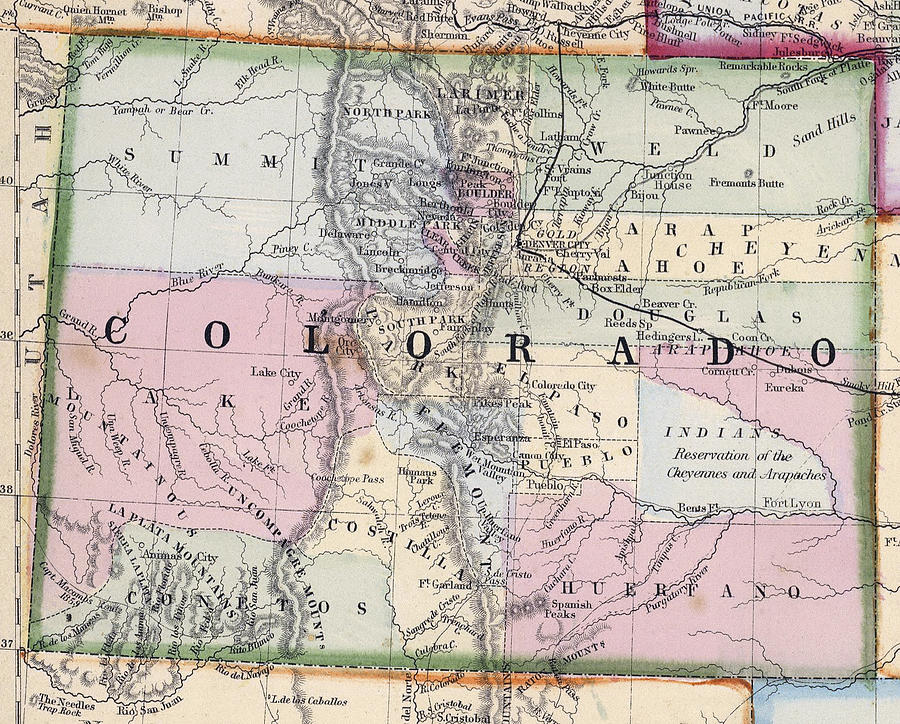 1870 Map Of Colorado Photograph by Daniel Hagerman Map Photograph   1870 Map Of Colorado by Daniel Hagerman