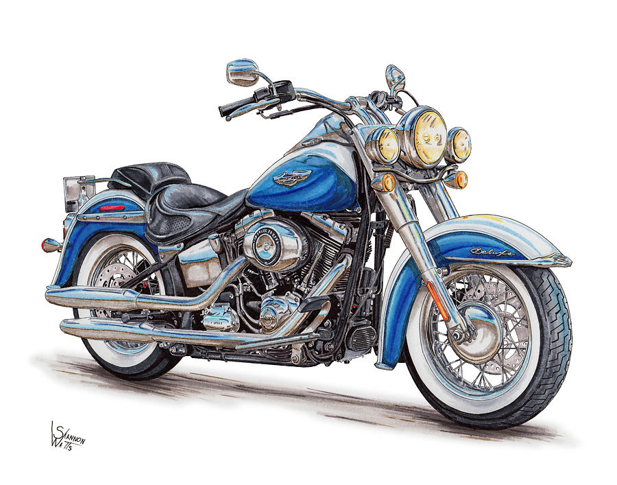 2015 Harley Softail Deluxe Drawing By Shannon Watts