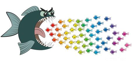 Big Fish Eating Many Small Colorful Fish Comic Digital Art by ...