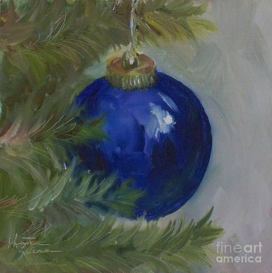 Blue Ball On Christmas Tree Painting By Kristine Kainer