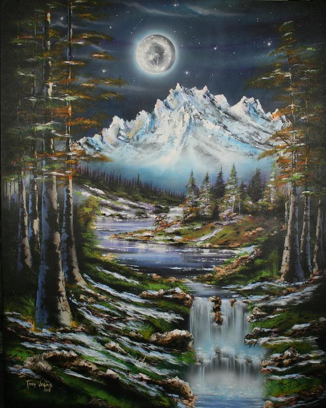 Blue Moon Shine Painting by Tony Vegas