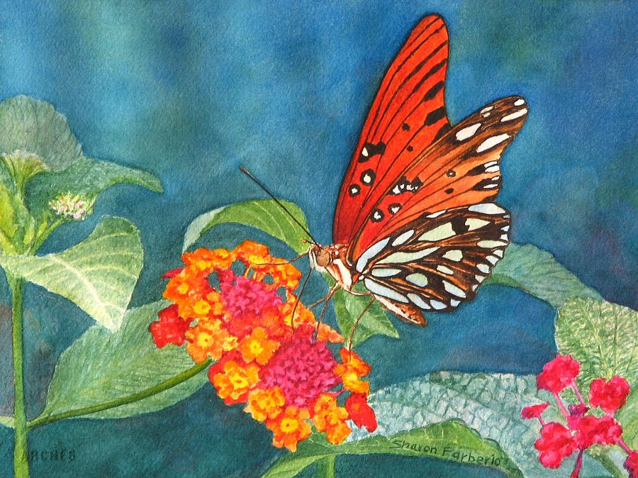 Butterfly With Flower Painting By Sharon Farber