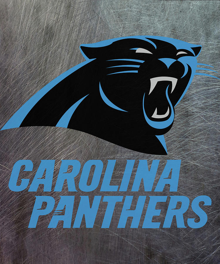 carolina panthers on an abraded steel texture by movie poster prints