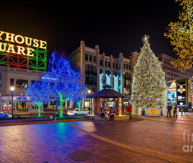 City View Photograph Cleveland Christmas Tree In The Playhouse Square District  By Frank Cramer