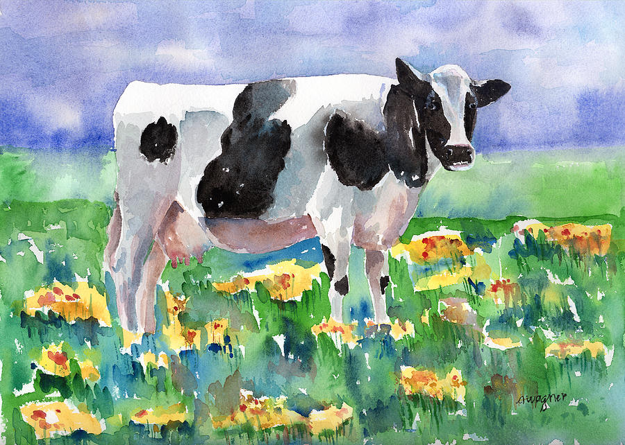 Cow In The Meadow Painting By Arline Wagner