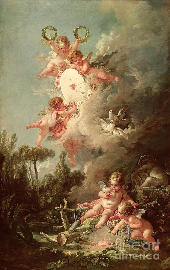Cupids Target Painting by Francois Boucher Cupid Painting   Cupids Target by Francois Boucher