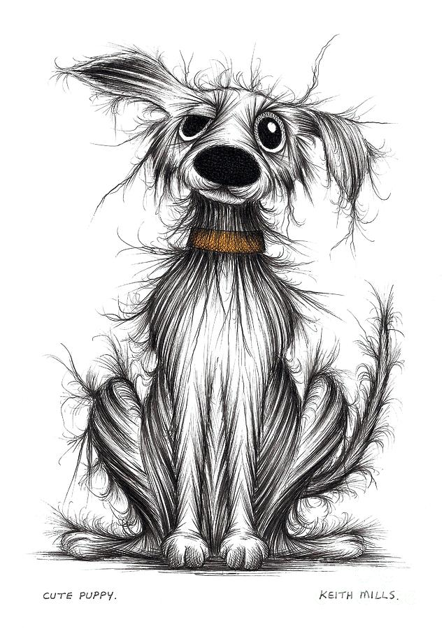 Cute Puppy Drawing By Keith Mills