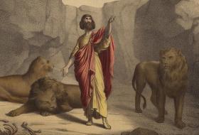 Daniel in the Lion's Den Painting by Jean-Baptiste Auguste Leloir