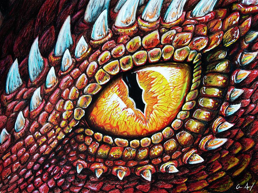 Dragon Eye Drawing by Aaron Spong