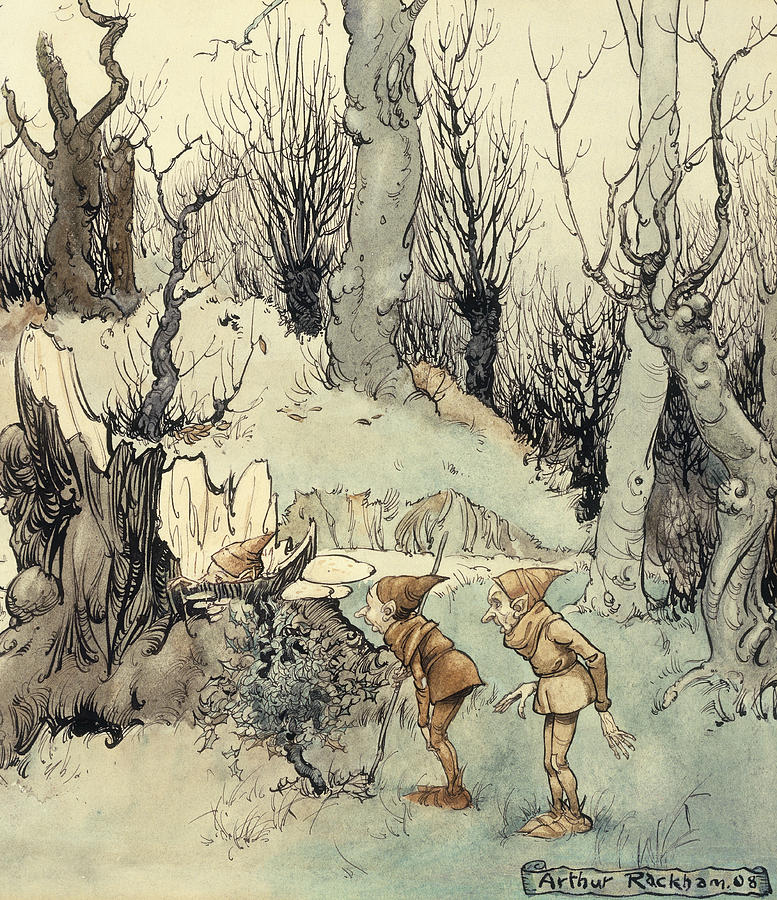 Elves In A Wood Painting By Arthur Rackham