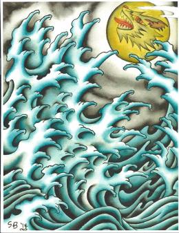 Fingerwaves Under a Wolf Moon Painting by Scott Bohrer