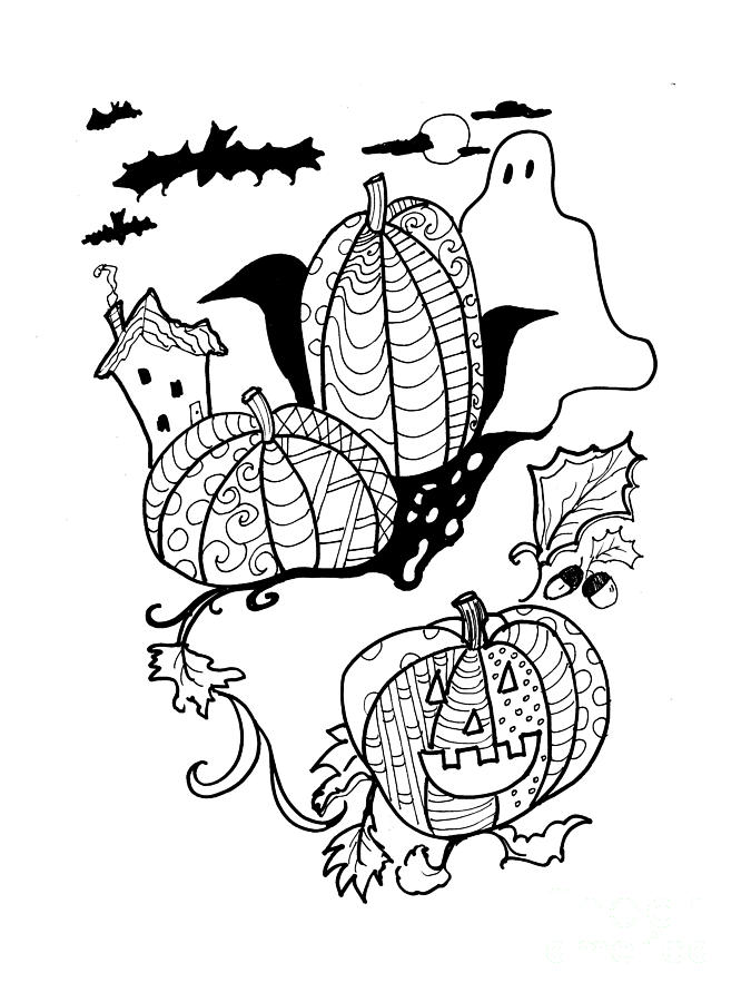 halloween ink coloring book image is a drawing by robin maria pedrero