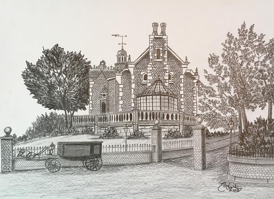 Haunted Mansion Drawing By Tony Clark