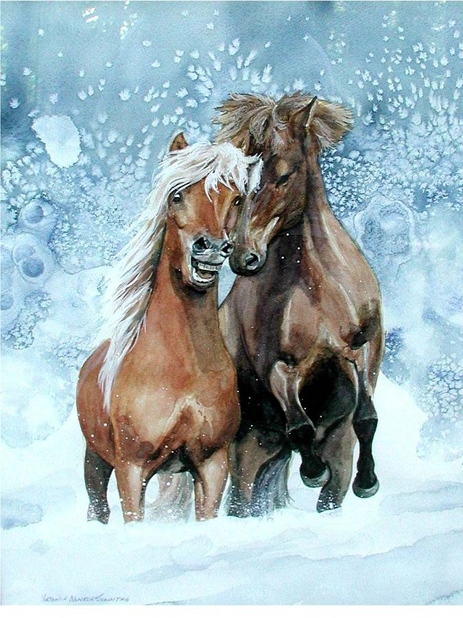 Horses In Winter Painting By Virginia Sonntag