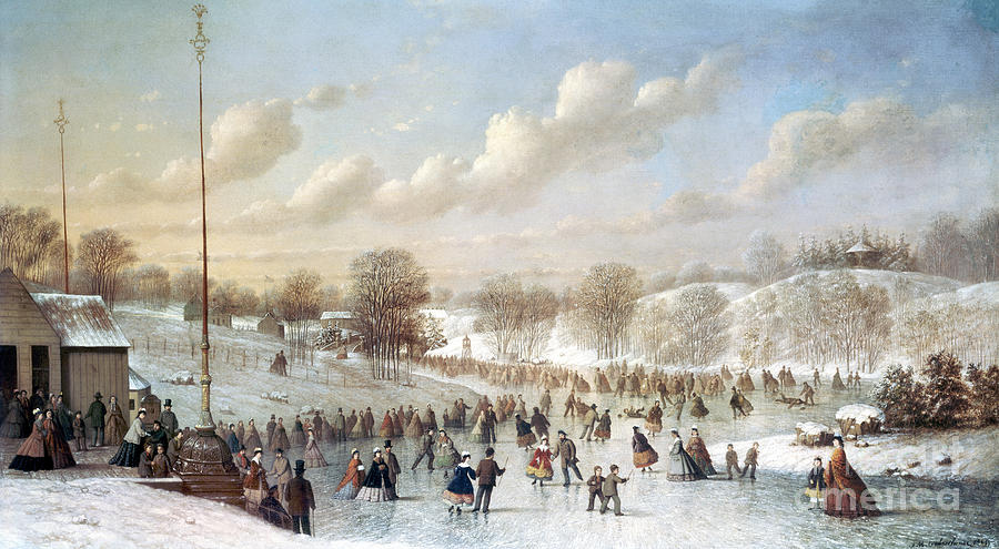 Ice Skating 1865 Painting By Granger