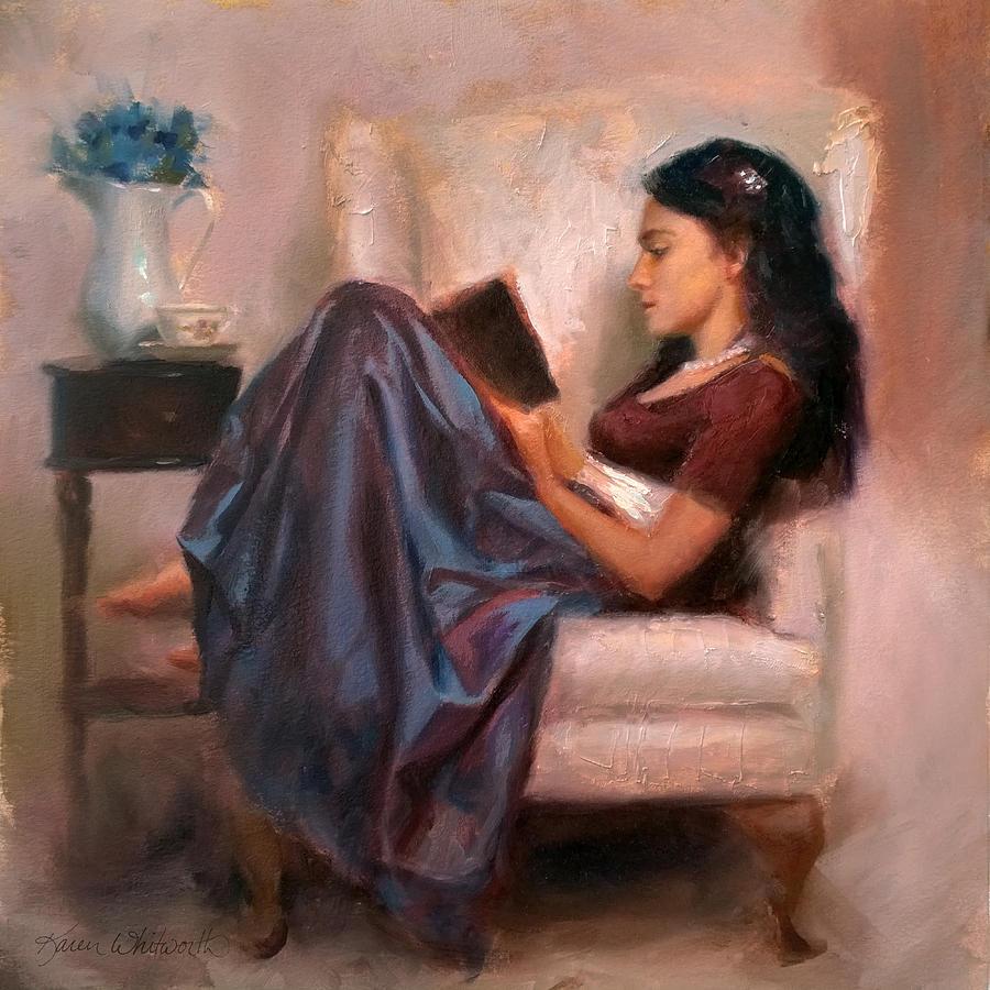 Αποτέλεσμα εικόνας για painting with pretty woman reading a book