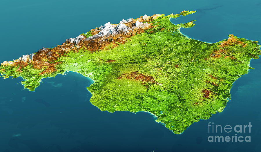 Mallorca Island Topographic Map 3d View Color Digital Art by Frank     Mallorca Digital Art   Mallorca Island Topographic Map 3d View Color by  Frank Ramspott
