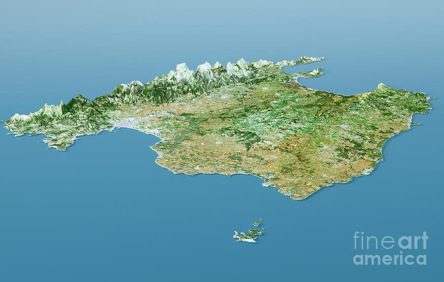 Mallorca Topographic Map 3d Landscape View Natural Color Digital Art     Mallorca Digital Art   Mallorca Topographic Map 3d Landscape View Natural  Color by Frank Ramspott