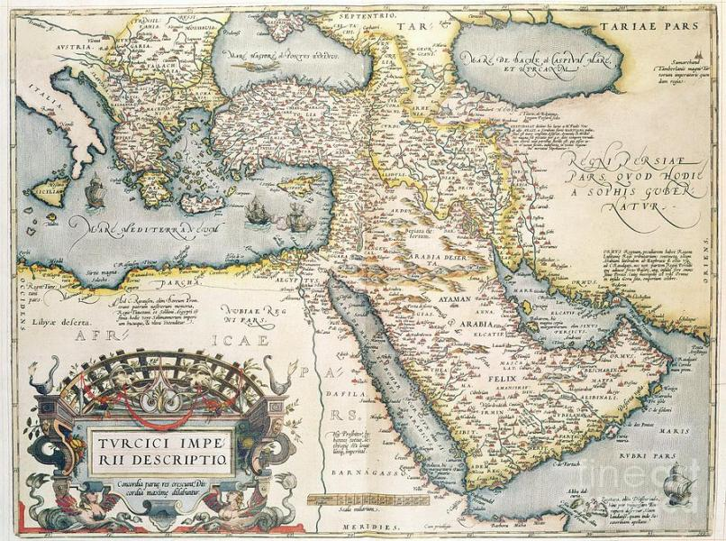 Map Of The Middle East From The Sixteenth Century Drawing by Abraham     Map Drawing   Map Of The Middle East From The Sixteenth Century by Abraham  Ortelius
