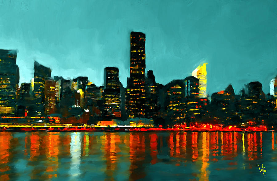New York City New York Skyline Painting Nyc Painting Painting by Vya     Art   Collectibles Painting   New York City New York Skyline Painting Nyc  Painting by Vya