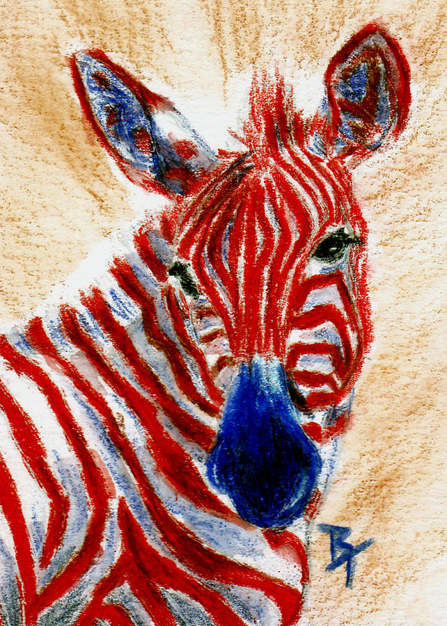 Patriotic Zebra Aceo Painting By Brenda Thour