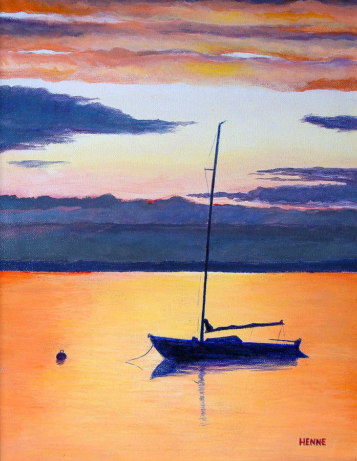 Sailboat Sunset Painting By Robert Henne