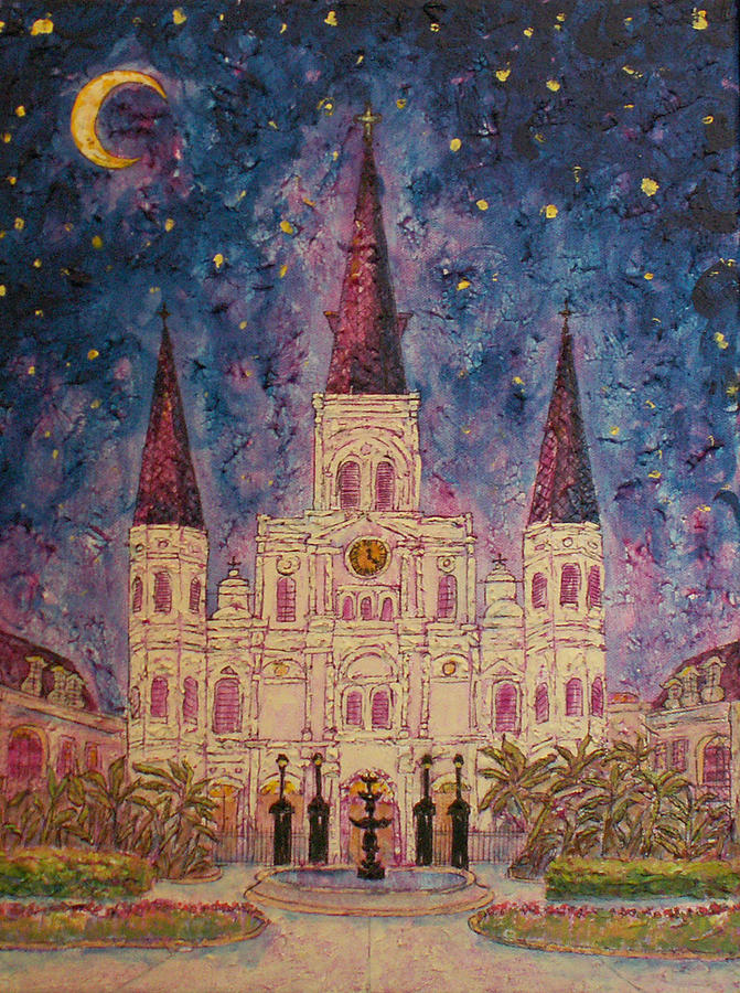 St Louis Cathedral At Night Painting By Catherine Wilson