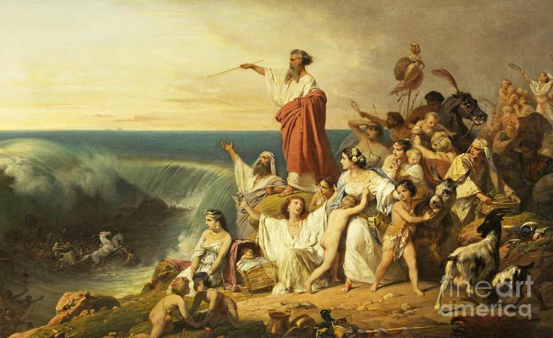 Image result for the red sea moses painting