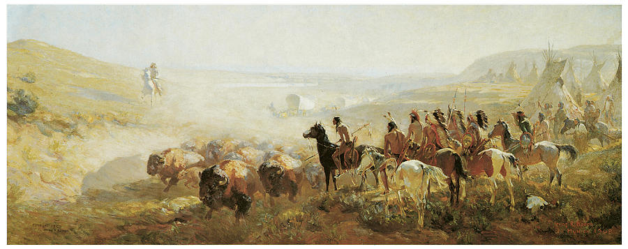 The Conquest Of The Prairie Painting By Irving R Bacon