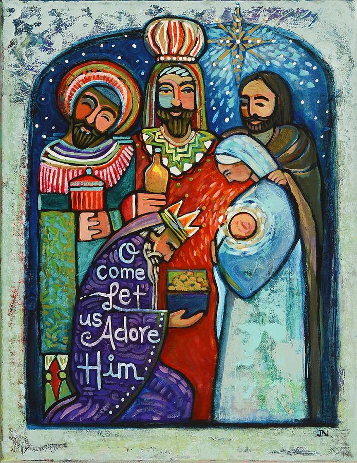Three Kings O Come Let Us Adore Him Painting By Jen Norton