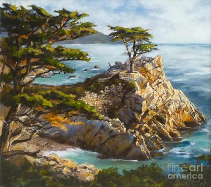 Time Stands Still  The Lone Cypress  Pebble Beach Painting by     Lone Cypress Painting   Time Stands Still  The Lone Cypress  Pebble Beach  by Shelley