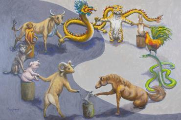 Chinese Zodiac Animals in Harmony Painting by Kerima Swain