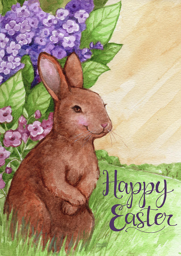 Happy Easter Bunny In Lilacs 2 Painting By Melinda Hipsher