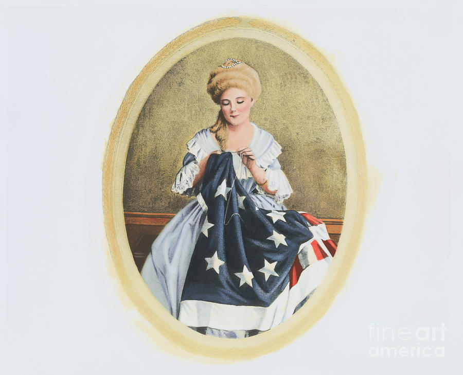 Illustration Of Betsy Ross Sewing By Bettmann