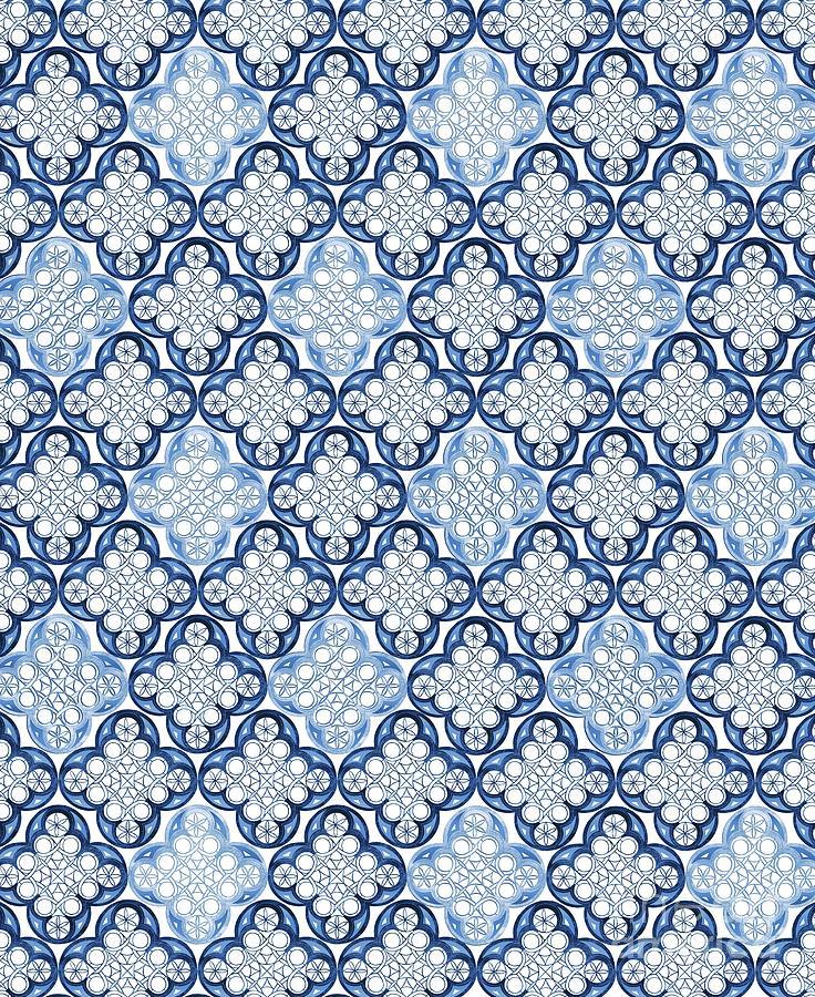 indigo blue moroccan tile glam 1 pattern decor art by anitas and bellas art
