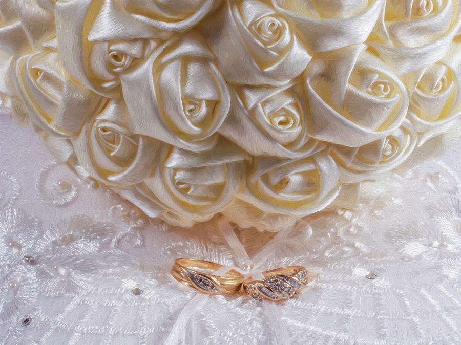 ivory ribbon bouquet on ring bearer s pillow with wedding rings by chic gallery prints from karen szatkowski
