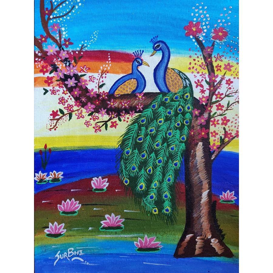 Peacock Painting Painting By Surbhi Bankar