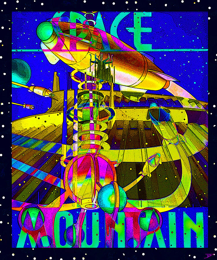 space mountain retro cool poster by david lee thompson