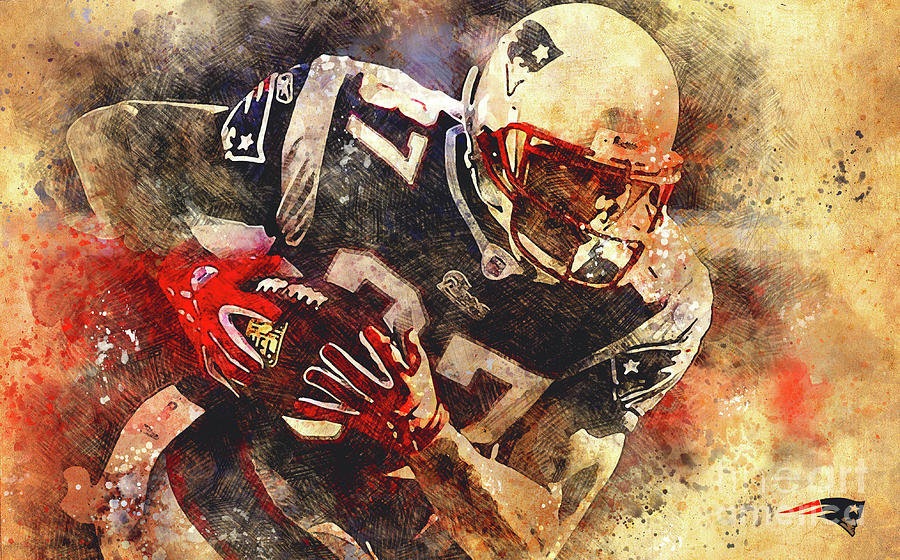 new england patriots nfl american football team football player sports posters for sports fans by drawspots illustrations