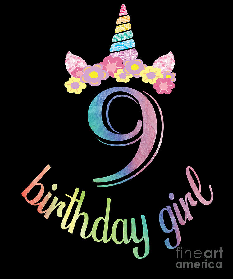 9th Birthday Girl Tshirt 9 Years Old Party Gift Digital Art By Art Grabitees