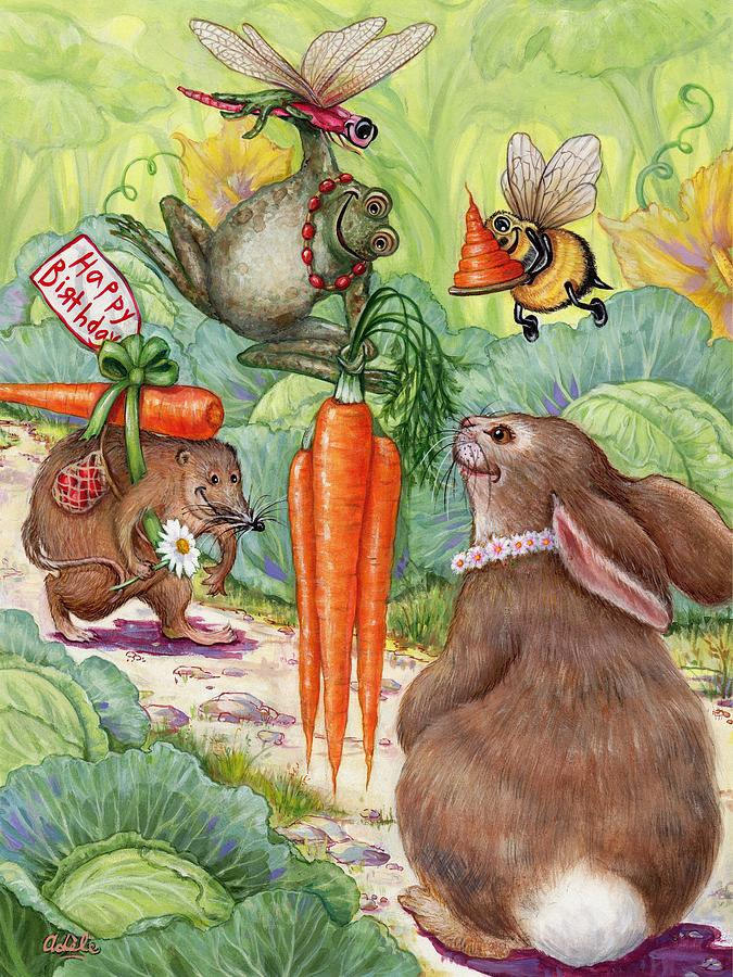 A Happy Bunny Birthday Painting By Whimsical Nature Art By Adele